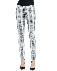7 For All Mankind Houndstooth-plaid Skinny Twill Pants - Lyst