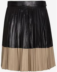 Robert Rodriguez Two Tone Pleated Leather Mini Skirt - Lyst