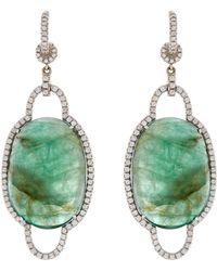 NSR Nina Runsdorf - Diamond, Emerald & White-Gold Earrings - Lyst
