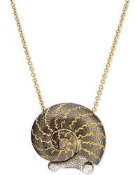 Alex Soldier - Snail Pendant Necklace With Diamonds - Lyst
