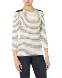Lauren by Ralph Lauren - Striped 34 Sleeved Crew Neck with Zip Shoulder - Lyst
