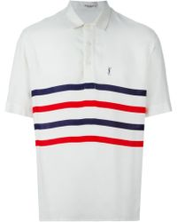 Yves Saint Laurent Vintage Striped Polo Shirt white - Lyst