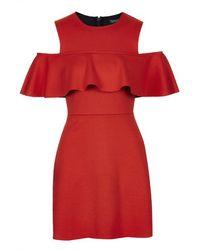 Topshop Frilly Cold Shoulder Dress - Lyst