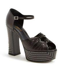 Saint Laurent 'Candy' Platform Leather Sandal - Lyst