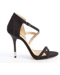 L.a.m.b. Black Suede Flavia Heel Sandals - Lyst