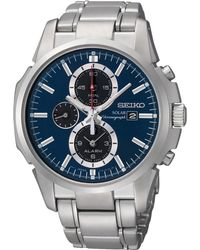Seiko Mens Silvertone Solar Chronograph Watch - Lyst
