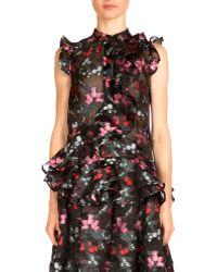 Erdem - Camelia Sleeveless Ruffled Floral-print Top - Lyst