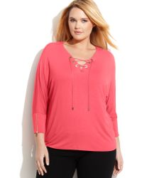 Calvin Klein Plus Size Three-Quarter-Sleeve Lace-Up Top - Lyst