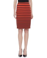 Halston Heritage Striped Knit Pencil Skirt - Lyst