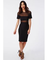 Missguided Thandie Mesh and Crepe Short Sleeve Dress Black - Lyst
