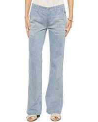 Free People Railroad Stripe Flare Jeans - Solar Blue - Lyst