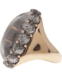 Federica Rettore Cabochon Oval Cocktail Ring - Gray