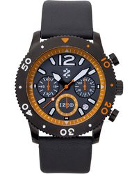 Izod - Watch, Unisex Chronograph Gray Leather Strap 42Mm Izs6-1Blk-Orange - Lyst