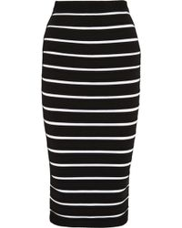 Balmain Striped Bandage Midi Skirt - Lyst