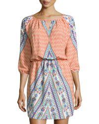 Fraiche By J Printed Keyhole 3/4-Sleeve Dress - Lyst