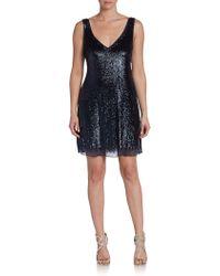 Basix Black Label Sequin V-Neck Cocktail Dress - Lyst