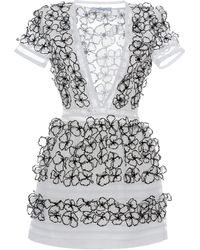 Blumarine Flower Embellished V-neck Mini Dress - Lyst