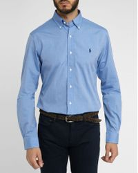 Polo Ralph Lauren Slim-Fit Poplin Shirt With Blue Stitching - Lyst