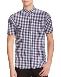 Fred Perry Gingham Sportshirt blue - Lyst