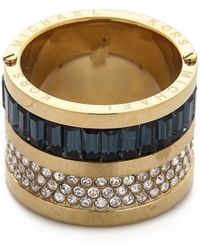 Michael Kors - Pave & Baguette Barrel Ring - Gold/Clear/Montana - Lyst
