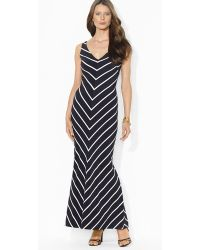 Ralph Lauren Lauren Maxi Dress - V Neck Sleeveless Diagonal Stripe - Lyst