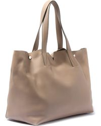 Vince Medium Nude Leather Tote Bag - Natural