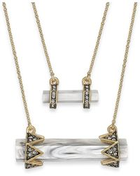 House Of Harlow Gold-tone Stone Bar Double Pendant Necklace - Lyst