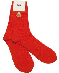 Folk Orange Waffle-Knit Cotton Socks red - Lyst