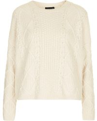 Topshop Knitted Angora Cable Jumper - Lyst