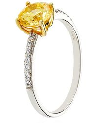 Carat* - Yellow Round Solitaire Ring - Lyst