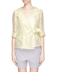 Armani Belted Silk Organza Gauze Jacket - Lyst