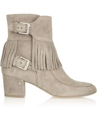 Laurence Dacade Babacar Frangie Fringed Suede Ankle Boots - Lyst