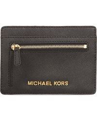 Michael by Michael Kors Saffiano Leather Card Holder Black - Lyst