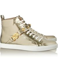 Versace Metallic Patent-Leather Sneakers - Lyst