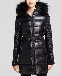 BCBGMAXAZRIA Coat - Fur Trim Hood - Black