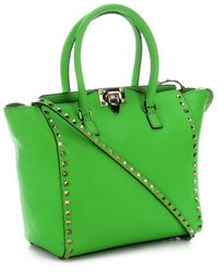 Valentino Green Leather Rockstud Studded Detail Small Convertible Tote - Lyst
