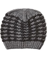 Jil Sander Navy - Two-tone Wool-alpaca Blend Knit Hat - Grey - Lyst