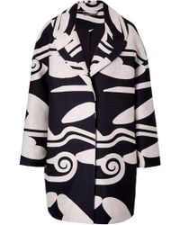 Diane von Furstenberg Wool-Cotton Cloud Wave Cocoon Coat - Lyst