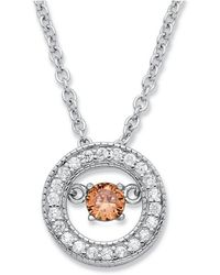 Palmbeach Jewelry - .20 Tcw ''cz In Motion'' Birthstone And Cz Halo Pendant Necklace In Sterling Silver 18'' - Lyst