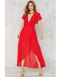 Nasty Gal | Great Lengths Plunging Dress - Red | Lyst