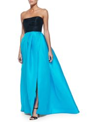 Monique Lhuillier Strapless Colorblock Gazar Gown - Lyst