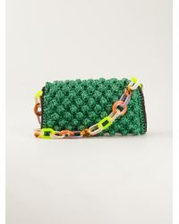 M Missoni Raffia Effect Shoulder Bag - Green