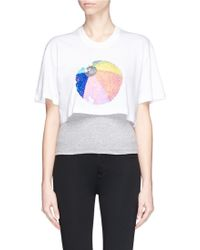 Markus Lupfer 'Beachball' Sequin Cropped T-Shirt white - Lyst