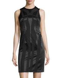 Versace Tonal Jacquard Sheath Dress - Lyst