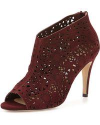 Manolo Blahnik Maufami Laser-Cut Suede Ankle Boot purple - Lyst