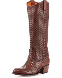 Frye Deborah Woven Leather Boot - Brown
