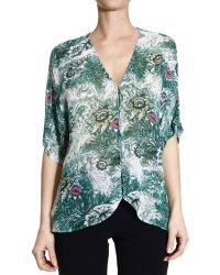 Patrizia Pepe Shirt Half Sleeve Silk Printed Floral - Lyst