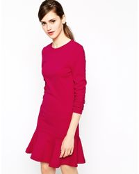 French connection Orchard Solid Dress in Jersey with Dropped Waist - Lyst