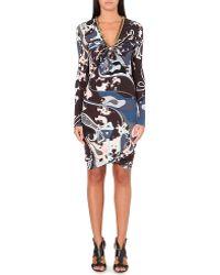Emilio Pucci Chaindetail Printed Silk Dress Brown - Lyst