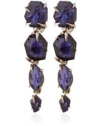 Alexis Bittar Fine | Silver Iolite Four Stone Drop Earrings | Lyst